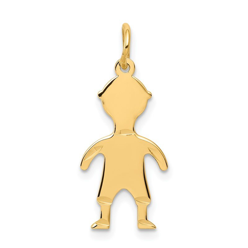 Quality Gold 14k .018 Depth Engravable Boy Charm