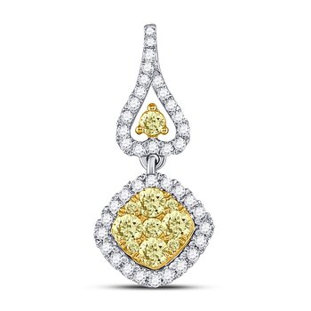 14kt White Gold Womens Round Yellow Diamond Diagonal Square Cluster Pendant 3/4 Cttw