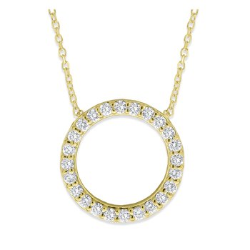 Diamond Circle Necklace in 14K Yellow Gold with 24 Diamonds Weighing .36 ct tw