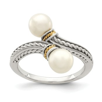 Sterling Silver w/ 14K Accent two 6-7mm FWC Pearl Ring