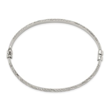 Sterling Silver Diamond Cut Bangle 6mm & Hoop 4mm Earring Set