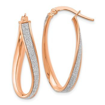 Leslie's 14K Rose Gold Glimmer Infused Twist Hoop Earrings