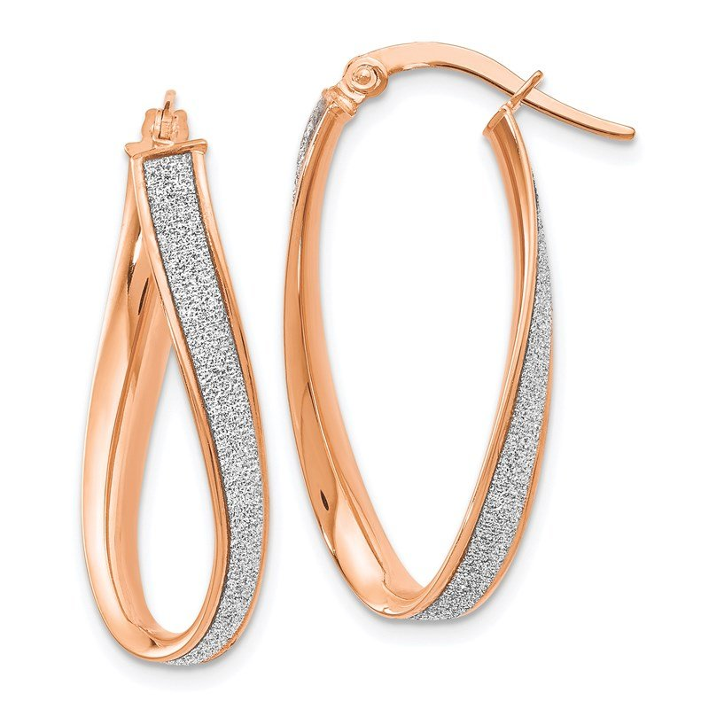 Leslie's Leslie's 14K Rose Gold Glimmer Infused Twist Hoop Earrings