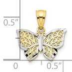 Quality Gold 10K w/Rhodium Butterfly Charm