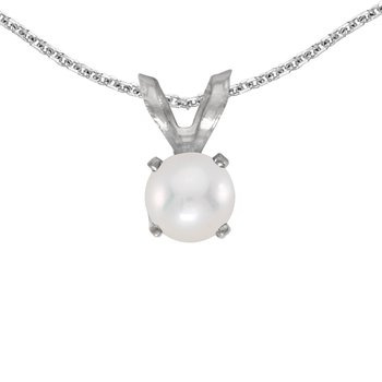 14k White Gold Freshwater Cultured Pearl Pendant