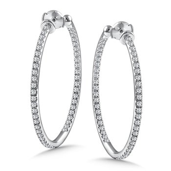 Diamond Reflection Hoops in 14K White Gold with Platinum Post (1.95 ct. tw.)