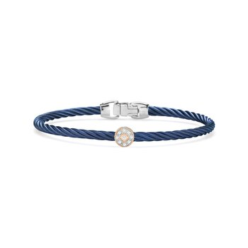 Blueberry Cable Essential Stackable Bracelet with Single Round Diamond station set in 18kt Rose Gold