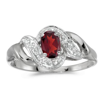 10k White Gold Oval Garnet And Diamond Swirl Ring