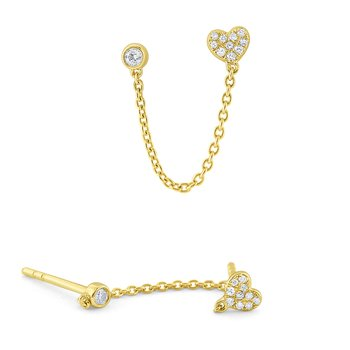 14k Gold and Diamond Single Heart Earring