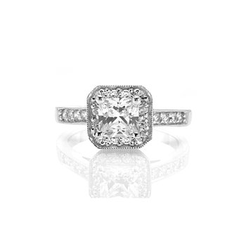 Milgrain Princess Cut Halo Engagement Ring