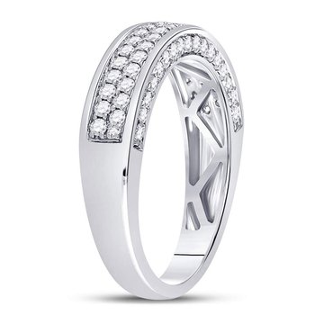 14kt White Gold Womens Round Diamond 2-Row Wedding Band 1.00 Cttw