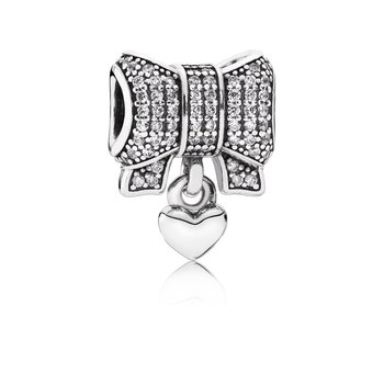 Heart Bow Charm, Clear Cz