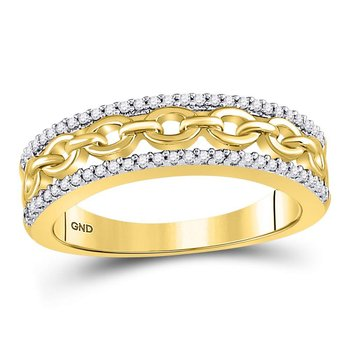 10kt Yellow Gold Womens Round Diamond Chain Link Fashion Band Ring 1/6 Cttw