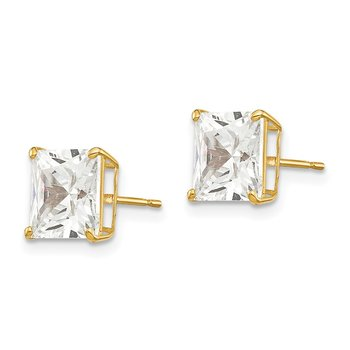 14k 7mm Square CZ Post Earrings