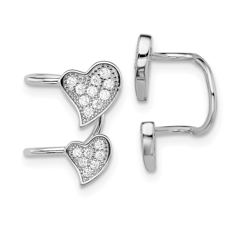Quality Gold Sterling Silver Rhodium-plated CZ Double Heart Right Cuff Earring