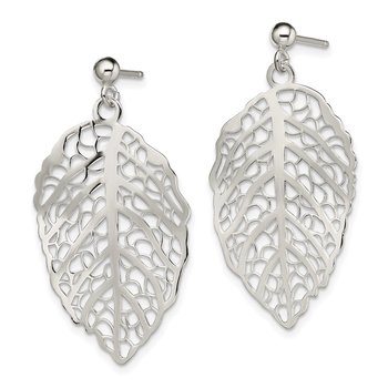 Sterling Silver Polished Leaf Post Dangle Earrings