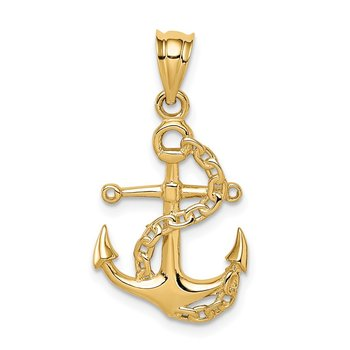 14K Polished Anchor & Chain Pendant