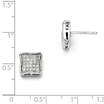 SS Rhodium-Plated CZ Brilliant Embers Post Earrings