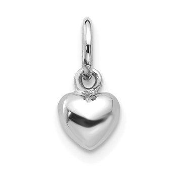 14k White Gold Solid Polished 3D Heart Charm