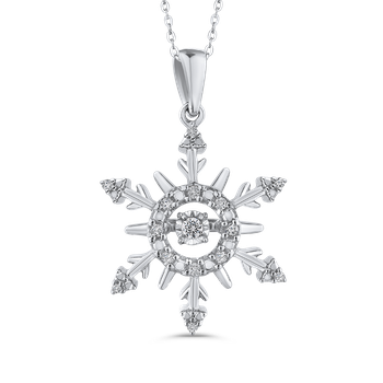 Sterling Silver .13 Ct Diamond Snowflake Pendant with Chain