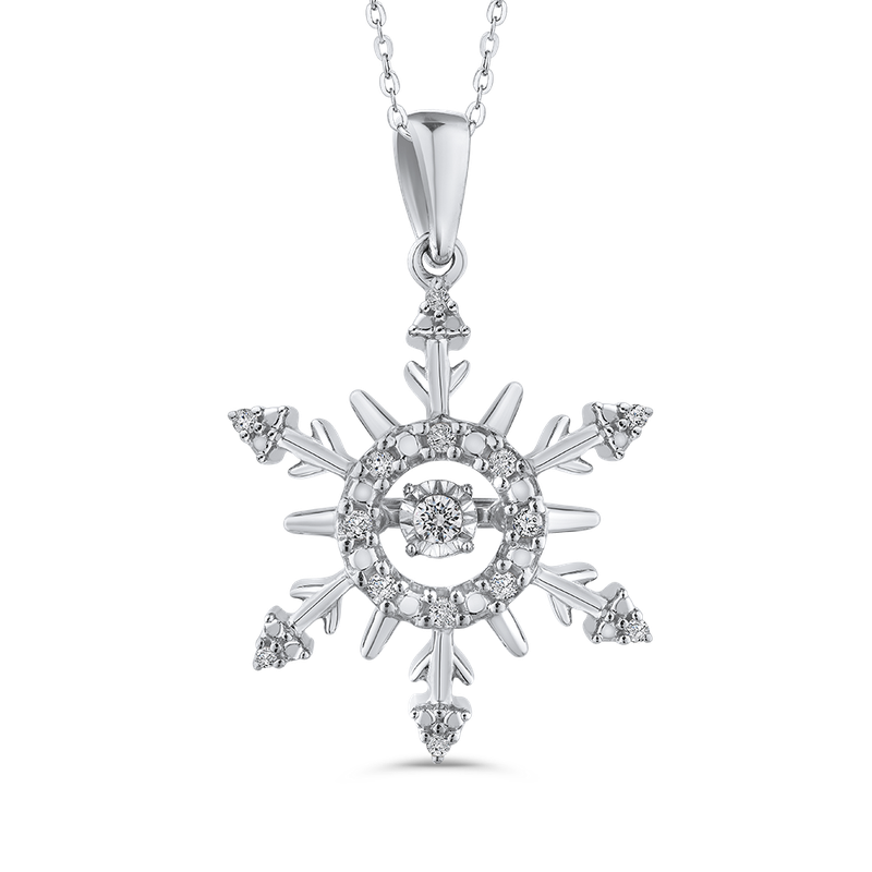 Essentials Sterling Silver .13 Ct Diamond Snowflake Pendant with Chain