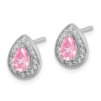 Sterling Silver Rhodium Plated Pink and Clear CZ Post Earrings