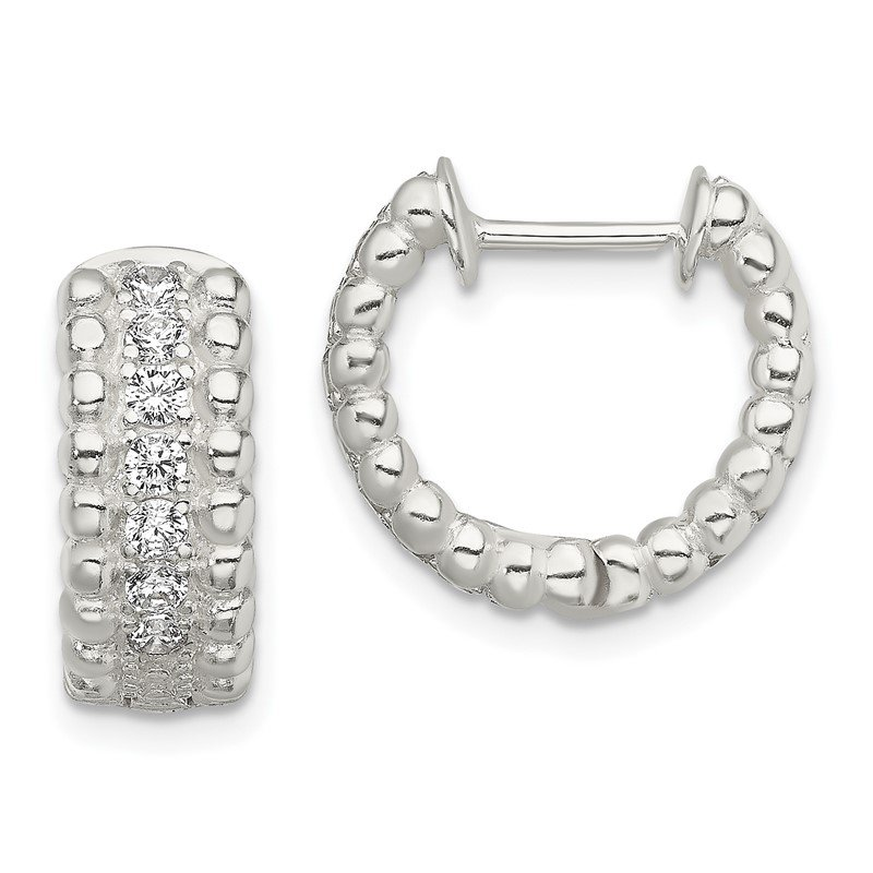 Quality Gold Sterling Silver CZ Hinged Hoop Earrings