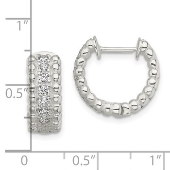 Sterling Silver CZ Hinged Hoop Earrings