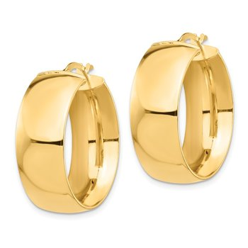 14k High Polished Small 10mm Hoop Earrings