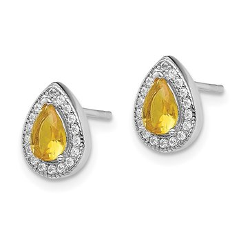 Sterling Silver Rhodium-Plated Yellow and Clear CZ Post Earrings