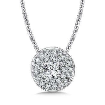 Diamond Double Round Halo Pendant in 14K White Gold (1/3 ct.)