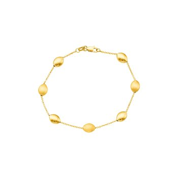 14K Gold Satin Pebble Strand Chain