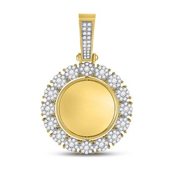10kt Yellow Gold Mens Round Diamond Circle Cluster Charm Pendant 2.00 Cttw