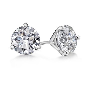 3 Prong 1/4 Ctw. Diamond Stud Earrings