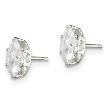 Sterling Silver 7x3.5 Marquise Snap Set CZ Stud Earrings
