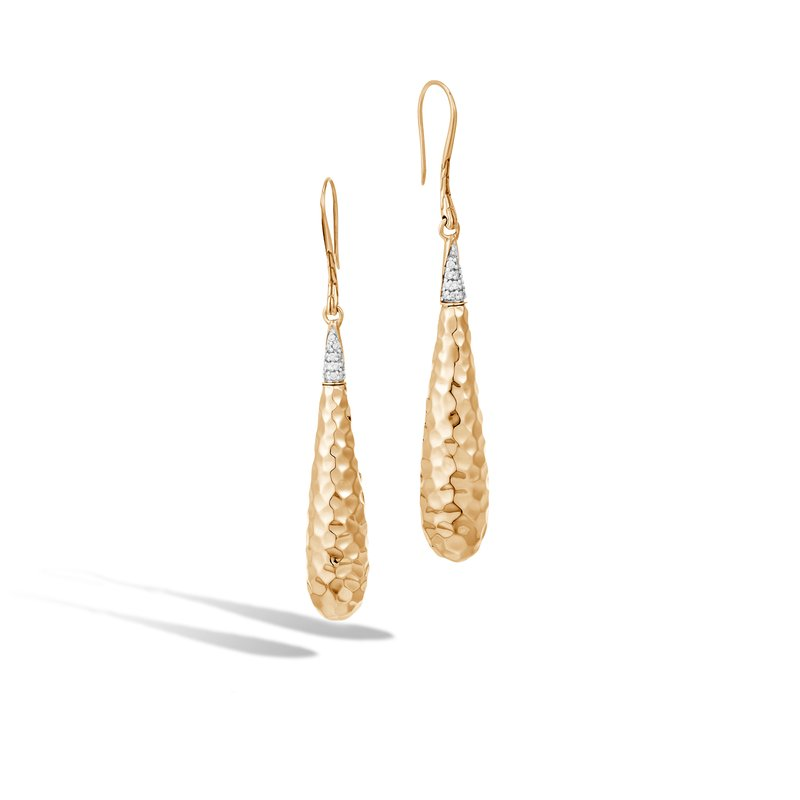 JOHN HARDY Classic Chain Drop Earring in Hammered 18K Gold with Diamond