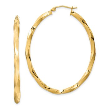 Sterling Silver Gold-plated Twisted 4mm Oval Hoop Earrings