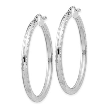 Sterling Silver Rhodium-plated 3.00mm Diamond-cut Hoop Earrings