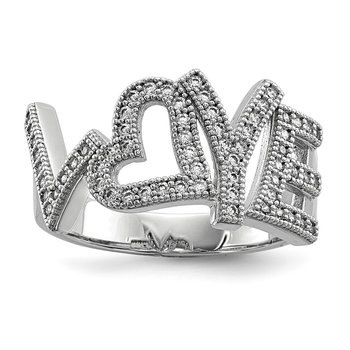 SS Rhodium-Plated CZ Brilliant Embers Polished Love Ring