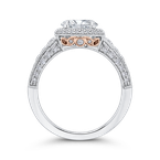 Carizza 14K Two-Tone Gold Round Cut Diamond Halo Engagement Ring (Semi-Mount)