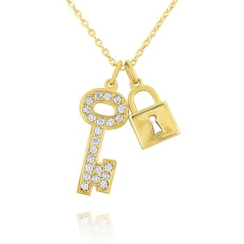 14k Gold and Diamond Lock and Key Necklace