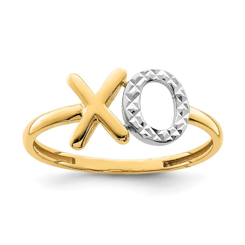 Quality Gold 14K & White Rhodium X & O Ring