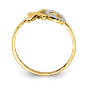 14K & White Rhodium X & O Ring