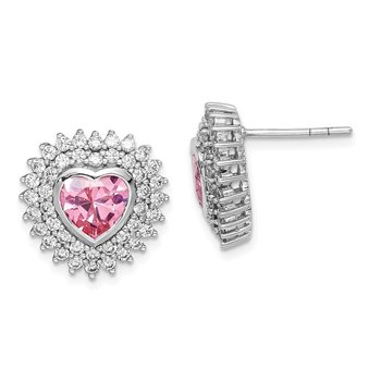 Sterling Silver Rhodium-plated 6mm Pink Heart CZ Post Earrings