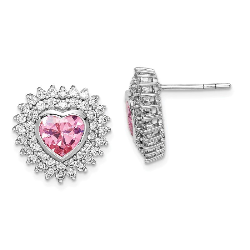 Quality Gold Sterling Silver Rhodium-plated 6mm Pink Heart CZ Post Earrings