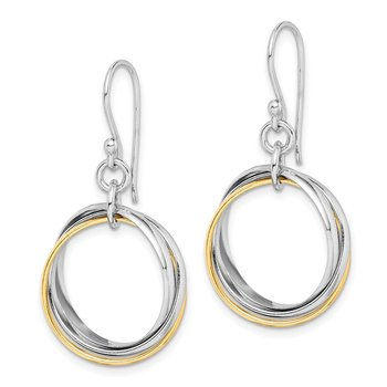 Sterling Silver Gold-Plated Triple Circle Dangle Earrings