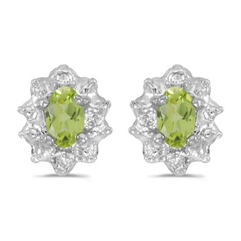 10k White Gold 5x3 mm Genuine Peridot And Diamond Earrings