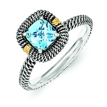 Sterling Silver w/14ky Lt Swiss Blue Topaz Cushion Ring