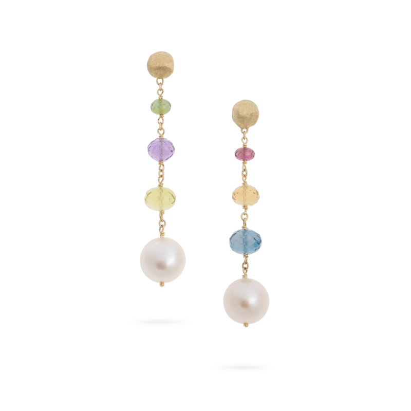 Marco Bicego Africa Gemstone and Pearl Drop Earrings