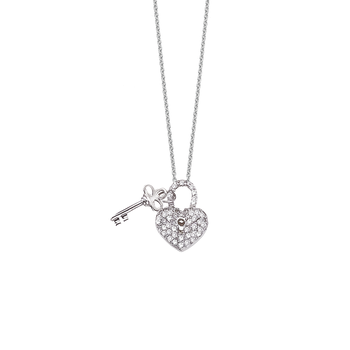 18Kt Gold Heart/Key Pendant With Diamonds